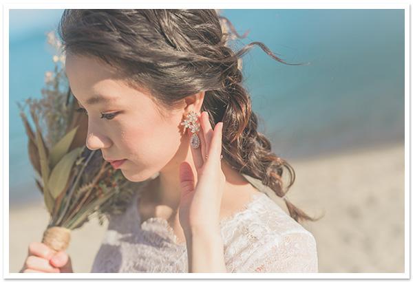 花嫁様お写真【ブルームジルコニアイヤリング/ピアス】