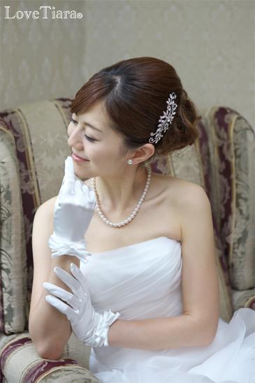 結婚式 ブライダル ウェディング ヘッドドレス ビジューコーム 髪飾り サイドコーム リーフ