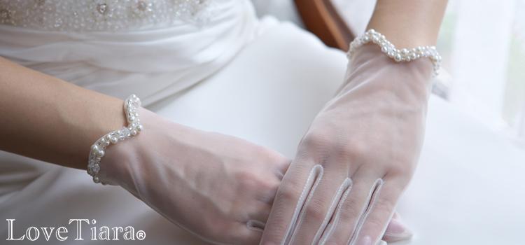 グローブ 手袋 サテン オーガンジー ビジュー ウエディング ブライダルアクセサリー 結婚式